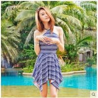 新款时尚聚拢游泳衣女保守泳装遮肚显瘦连体裙式平角小胸 可礼品卡支付
