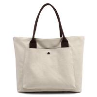 简约休闲帆布女包韩版购物袋式女士单肩包百搭大容量手提包通勤包