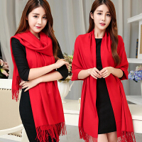 故事女郎仿羊绒冬季中国红围巾定制年会女披肩两用冬天纯色加厚冬