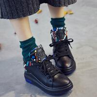货到付款 2017女士秋冬韩版内增高运动鞋女棉鞋真皮系带百搭休闲鞋复古板鞋