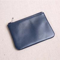 超薄男士迷你零钱包女士牛皮拉链短款小钱包零钱袋卡包硬币包 蓝色小号 cm长度