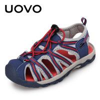 【下单立减100】UOVO新款男童凉鞋包头透气夏季小孩防滑学生中大童儿童凉鞋男 兰卡威