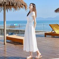 舒适好看!时尚新品雪纺连衣裙女2019新款蕾丝显瘦沙滩裙海边度假长裙气质白色仙女裙青春靓丽