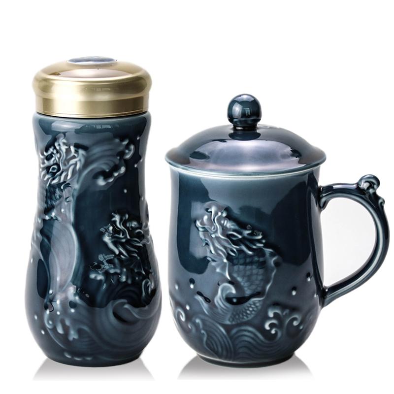乾唐轩活瓷杯大鱼跃龙门2入礼盒套装创意陶瓷茶水杯子商务礼品