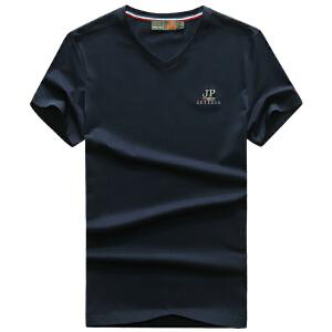 7701夏装新款战地吉普AFSJEEP纯棉弹力短袖T恤衫 V领男半袖polo衫