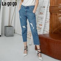 Lagogo2019年夏季新款九分裤直筒高腰宽松休闲牛仔裤女IANN433A65