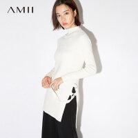Amii[极简主义]2017秋装新款半高领侧开叉绑带长款毛衣女11743009