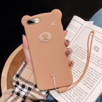 网红立体小熊苹果7plus手机壳iphone8液态硅胶6s女8P可爱iphone6卡通磨砂软壳趣味少