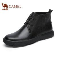 camel骆驼男靴 秋冬新品 时尚潮流休闲牛皮系带男士休闲皮靴子