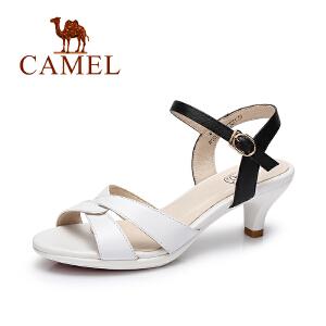 camel骆驼女鞋 2017春夏新款 猫跟鞋  气质通勤时尚一字扣细跟凉鞋