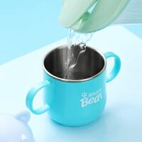 幼儿园儿童卡通喝水杯子不锈钢宝宝牛奶杯家用早餐杯带盖创意口杯
