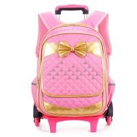 拉杆书包小学生可拆卸2-6年级可爱蝴蝶结女款儿童拉杆包