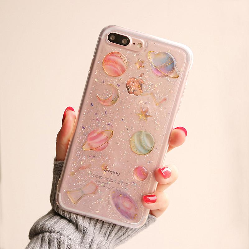 苹果6手机壳闪粉iphone7plus硅胶6s软6plus女款8p星空个性创意 花花宇宙 ip6/6s 4.7寸