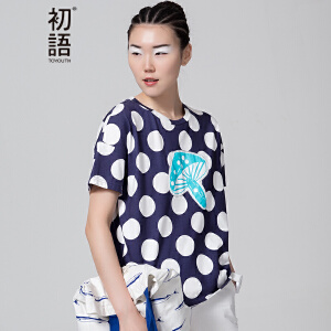【下单减100 商场同款】初语 夏季新品 卡通贴布绣波点短袖T恤女8620*1091