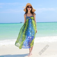 夏季海边度假长裙沙滩裙吊带露背雪纺连衣裙女巴厘岛度假裙 绿色