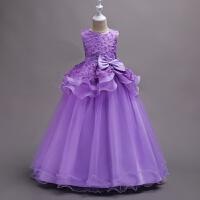 欧美中大女童花朵长款拖地晚礼服儿童学校演出婚礼婚纱蓬蓬公主裙