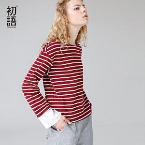 初语2017秋装新款文艺拼接细条纹圆领宽松纯棉长袖拼接袖T恤女