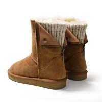 №【2019新款】冬天穿的羊皮毛一体雪地靴女2018新款中筒靴后拉链毛线筒棉靴