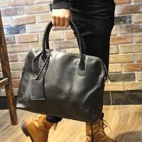 电脑包潮包男士手提包潮流时尚复古单肩包休闲韩版皮包 黑色
