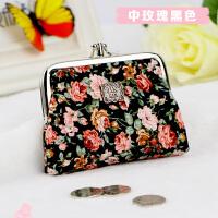 韩版可爱短款小钱包女士手拿零钱包女布艺学生复古包卡包