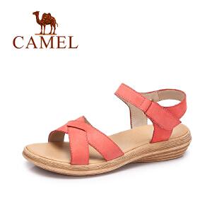 Camel/骆驼女鞋 春夏新款休闲简约女鞋魔术贴平底舒适凉鞋女
