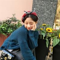 韩国chic甜美少女心蝴蝶结贝雷帽学生简约秋冬画家帽日系原宿帽子 可调节