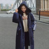 孕妇棉衣女冬装外套2018新款孕妇羽绒韩版中长款加厚200斤袄 蓝色