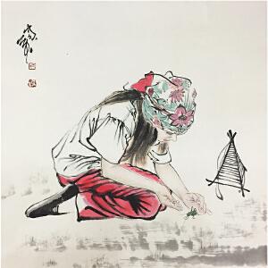 何家英《关爱》中国美术家协会副主席