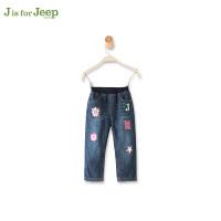 Jeep/吉普童装 女童休闲加厚复合牛仔裤中大儿童松紧腰保暖长裤冬
