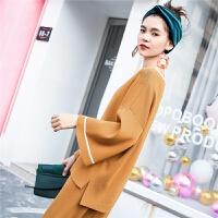 外套针织衫女复古打底百搭2018春秋装新款韩版宽松套头v领短毛衣