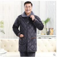 冬季加厚加绒珊瑚绒夹棉中长款保暖家居服套装中老年男士爸爸睡衣