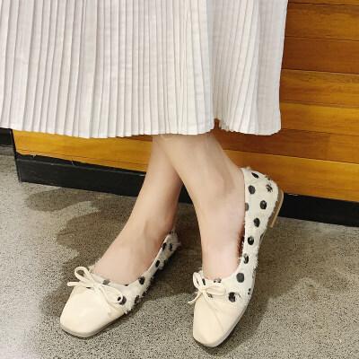 单鞋女2019夏款平底鞋女韩版蝴蝶结时尚低跟单鞋女浅口套脚女鞋子