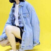 牛仔外套女潮2019春季韩版学生宽松bf薄款上衣秋装短款夹克衫 浅蓝色