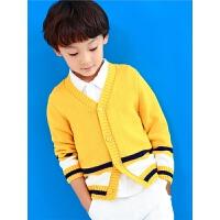 秋季纯棉开衫外套中小童外出针织条纹上衣