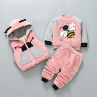 宝宝冬装套装秋冬季卫衣三件套女婴儿外出棉衣