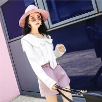 长袖T恤女秋装冬季新款宽松韩版娃娃领镂空洋气纯色百搭上衣
