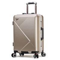 行李箱男防刮耐磨拉杆箱万向轮PC旅行箱女20寸登机箱子皮箱密码箱 香槟金 送棕色箱套