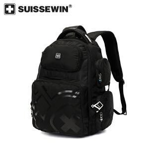 【SUISSEWIN旗舰店 支持礼品卡支付】男士商务电脑包学生时尚双肩包户外登山背包健身包