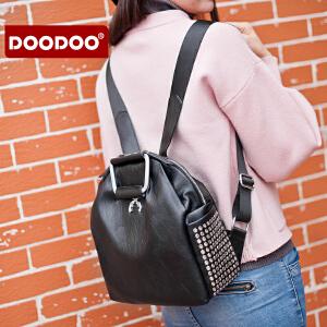 【支持礼品卡】DOODOO 双肩包女背包 2017新款包包时尚简约个性旅行小背包女包 D6128