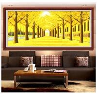 客厅大幅黄金满地发财树十字绣点钻画粘贴砖石钻石画满钻黄金大道