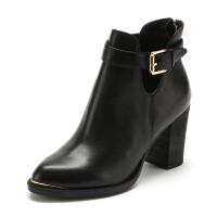 星期六ST&SAT牛皮尖头高跟拉链纯色女靴SS54112800