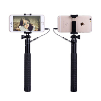 手机自拍杆线遥控拍照配件折叠迷你支架直播安卓苹果67通用铝合金 苹果/安卓手机通用线控自怕杆