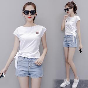 棉短袖t恤女2018新款韩版修身学生体恤上衣夏季