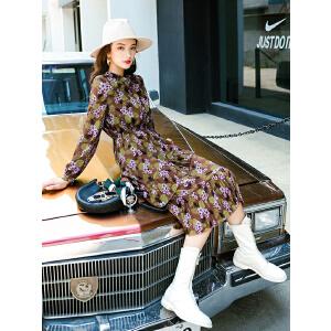 七格格雪纺裙子中长款秋装女新款法式少女长裙复古长袖连衣裙