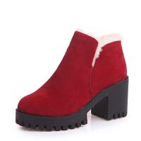 2019秋冬季新款韩版时尚百搭原宿短靴女靴子粗跟高跟鞋踝靴女棉鞋 红色
