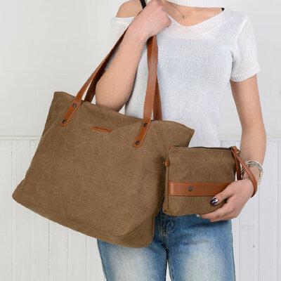 潮帆布包女单肩包女包简约通勤手提包托特包大包包子母包 品质保证 售后无忧 支持货到付款