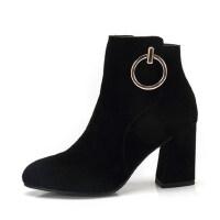 camel 骆驼女鞋 秋冬新款 金属圆环装饰时尚尖头短筒靴子 高跟女靴