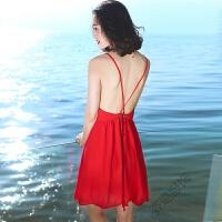 初恋裙夏女装露背吊带雪纺连衣裙海边度假沙滩裙短裙仙女 红色 XZ17A553