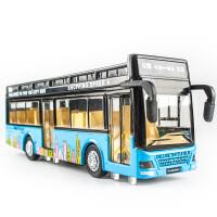 公交车巴士双节大巴电车合金模型公共汽车男孩儿童双层巴士玩具车