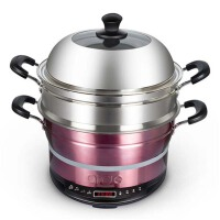 家用电火锅电蒸锅 5.5升不锈钢多功能智能预约